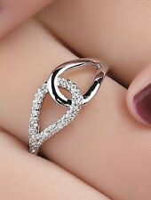 925 silver link diamanté love dainty adjustable ring jewellery present gift