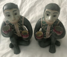 Rare Vintage Pair Green Chinoiserie Monkey Candle Stick Holders 7 X 5 Perfect