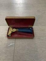 VTG Schick Injector Safety Razor, w/ Case & Blades, Blue Bakelite Handle