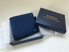 POLO RALPH LAUREN Men's Metal Plaque Bifold Leather Wallet in Royal Blue NEW