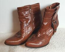 Bronx Stivali Ankle Boots tg. 41 Cognac Marrone Medio Marrone Stivaletti Biker