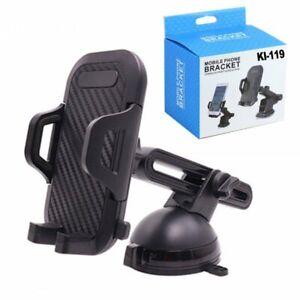 Clip Bracket Long Windshield and Dashboard Car Mount Holder for Phone (Black)