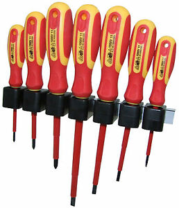 7pc VDE Screwdriver Set Electricians Insulated 1000v Slotted Phillips Drivers