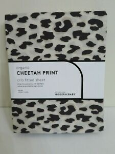 POTTERY BARN BABY CHEETAH PRINT ORGANIC FITTED CRIB SHEET NEW