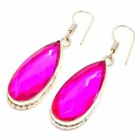"Fair Pink Topaz Handmade Ethnic Style Jewelry Earring 1.97"" MS0863"
