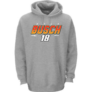 Kyle Busch #18 Checkered Flag Sports Nascar Gray Pullover Hoodie Men's XL