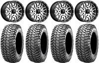 "MSA Machined Brute 14"" UTV Wheels 30"" Liberty Tires Kawasaki Mule Pro FXT"