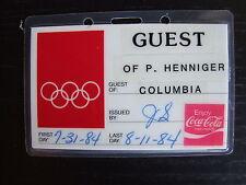 VTG 1984 US Los Angeles LA Olympics Guest Pass Columbia P.Henniger Coca Cola