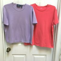 TWO Cool Cotton Tops size XL Lavender and Orange T-shirts