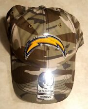 57aa27970 Womens Los Angeles Chargers Sparkle Camo Adjustable Clean up Hat by NFL