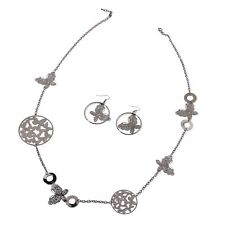 Dark Silvertone Butterfly Earrings and Necklace Set (40 in)   New in gift box!