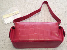 Elka Handbag Red Faux Crocodile Pattern Purse 8 Inches