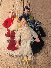 Vintage Set 5 MARIONETTE PUPPETS HANDMADE CZECH REPUBLIC PRAGUE String Hand Held