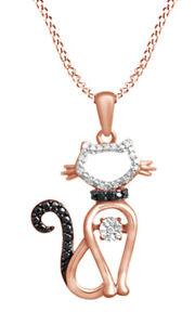 1/20 CT Black & White Diamond Accent Cat Pendant Necklace In 14K Rose Gold Over