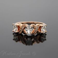 GORGEOUS GIFT SIMULATED DIAMOND HUGS & KISSES 18K ROSE GOLD PLATED RING SIZE 7