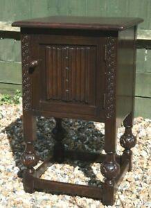 Vintage Linenfold Pedestal, Side Table Cabinet By Skull Furniture