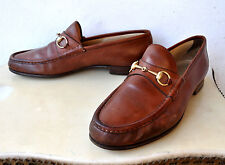 GUCCI Tom Ford Horsebit Brown Leather Loafers Shoes Sz 45 Italy Authentic Rare!