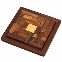 Handmade Indian Wooden Jigsaw Puzzle Toys for Kids Travel Games for Families