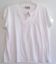NWT!-CHICO'S SS COTTON TEE/TOP-SZ 3(L/XL)-WHITE-PINTUCKED FRONT/TASSLE TIE.