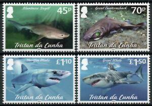Tristan da Cunha Stamps 2021 MNH Marine Animals Stamps Sharks Shark Pt II 4v Set