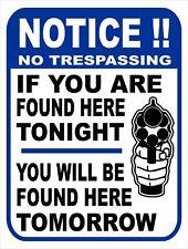 NOTICE Security No Trespassing Gun Home Owner Pistol Funny Metal Tin Sign 9x12