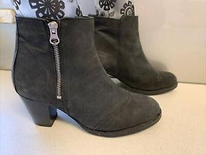 Sz 9 Sz 40 TOPSHOP Charcoal Black Leather Ankle Boots Block Heel Zip Up Boots