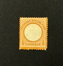 {BJ Stamps} GERMANY, #16, 1872 1/2 gr orange, large shield, FVF, MH, CV $37.50.