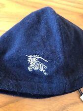 BURBERRY BLUE WOOL COTTON BLEND LOGO BABY LINED BEANIE HAT SZ 0 & 1 UN BNWT $140