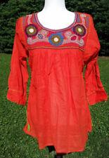 Maya Mexican Blouse Top Shirt Embroidered Semi-Sheer Chiapas Medium Orange 200