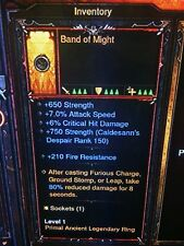 Diablo 3 Primal ancienne Véritable Band of might Barbarian Ring patch 2.6.1 SC Mode