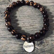 Silver Namaste Round Palm Wood Beaded Stretch Bracelet Mala Men Women