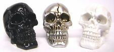 3 x Skull Ornament Small Black White & Silver Halloween Gruesome Decoration