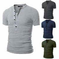Fashion Mens V Neck Slim Fit Shirt Short Sleeve Button T-shirt Casual Tops M-2XL