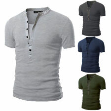 Men's V Neck Button Down Short Sleeve T-shirt Summer Slim Fit Casual Tee Tops
