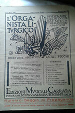 Musica Organo -spartito antico - L'Organista liturgico - Anno 3°  1934 libr casa