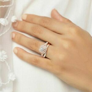Ladies Round Cut Diamond Engagement Ring Wedding Bridal Set 10k Rose Gold Over