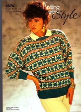 Stile retrò lavoro a maglia con motivo, 0876, Lady's Fair Isle Maglione, 32-38 in