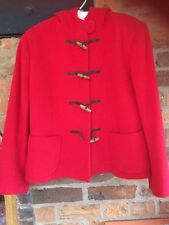 HOBBS Wool Short Duffle Coat  With Hood Size 14 Red