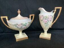 Vintage Lenox American Belleek Porcelain Sugar Bowl & Creamer Pink Roses