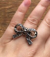 Striking Big Silver Tone Bow Ring/Marcasite Effect/Statement Design/Size R & 1/2