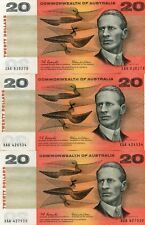 3x Commonwealth of Australia 1966 Coombs/Wilson $20 First Prefix XAA Banknotes