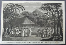 1784 Anderson Antique Print Surrender in Tahiti, 1767 Capt Wallis & Queen Purea