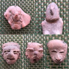 Pre-Colombian Five 5 Small Terracotta Heads Pottery Mayan