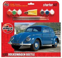 Airfix Volkswagen Beetle Vintage Car Model Kit Medium Starter Set 1:32 Humbrol
