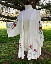 NWT Kimono white ivory Bird Embroidered Floral Swingy Flounce Jacket Cardigan L