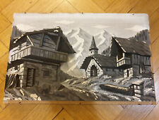 Switzerland Swiiss Carved Wood Mountain Scene Painting. Vintage 1960s. Signed.