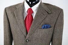 DAVID AUGUST 46L Mens Brown Tweed Herringbone Wool 3Bttn SportCoat Surgical Dual