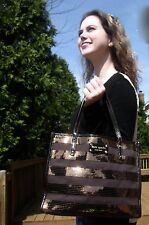 Kate Spade Canvas Chocolate Brown Sequined dazzling Small Quinn Handbag Tote