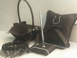 Western Wedding Brown, Crystal Horse Shoe Design, Pen, Basket, Pillow, Garter