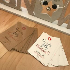 24 Personalised Vintage/Retro Christmas Tags Have a Very Jolly Christmas